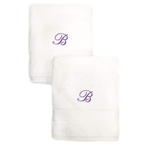Sweet Kids 2-piece White Turkish Cotton Hand Towels Personalized with Lavender Purple Monogrammed Initial