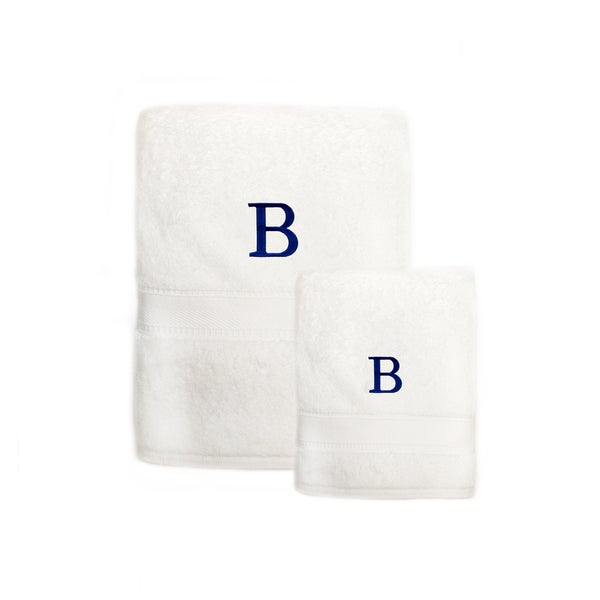 Sweet Kids 2-piece White Turkish Cotton Bath and Hand Towel Set with Royal Blue Monogrammed Initial