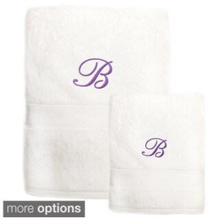 Sweet Kids 2-piece White Turkish Cotton Bath and Hand Towel Set with Lavender Purple Monogrammed Initial (More options available)