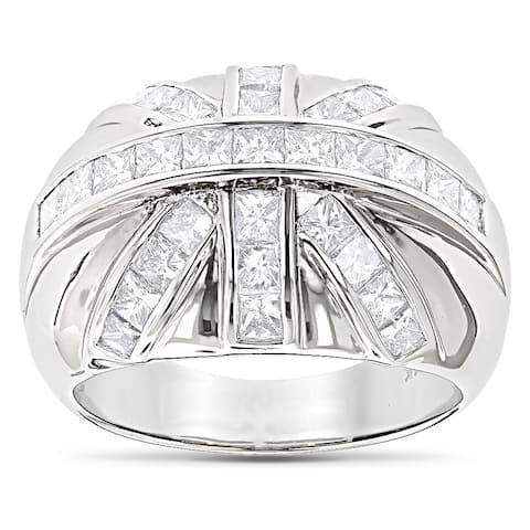 Luxurman 14k Gold Men's 2 1/4ct TDW Princess-cut Diamond Ring (G-H, SI1-SI2)
