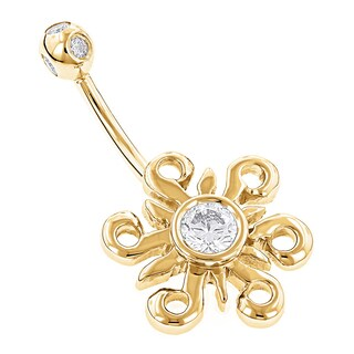 Luxurman 14k Gold 4/5ct TDW Diamond Sun Belly Button Ring (G-H, SI1-SI2) (3 options available)