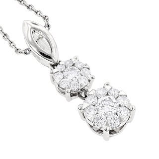 Luxurman 18k Gold 1/2ct TDW Diamond Double Cluster Necklace (F-G, VS1-VS2)