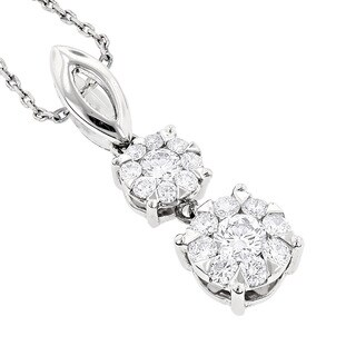 Luxurman 18k Gold 1/2ct TDW Diamond Double Cluster Necklace