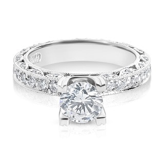 Tacori Platinum 1 ct TDW Diamond Engagement Ring Setting with 6.5 mm Round CZ Center (G-H, VS1-VS2)