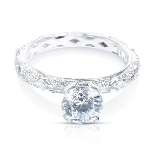 Tacori Platinum 3/8 ctw Diamond Semi-mount and CZ Engagement Ring (G-H, VS1-VS2)