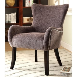Casual Grey Living Room Accent Chair with Nailhead Trim