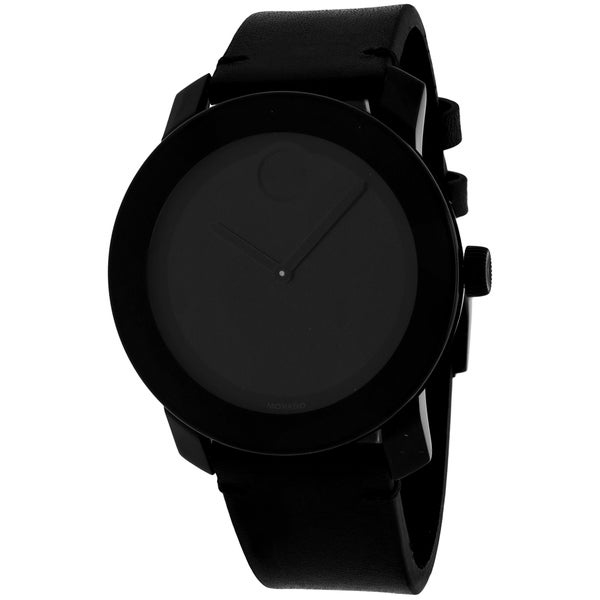 f3ad8cfd88422 Shop Movado Men s Bold Round Black Leather Strap Watch - Free Shipping  Today - Overstock - 10317662