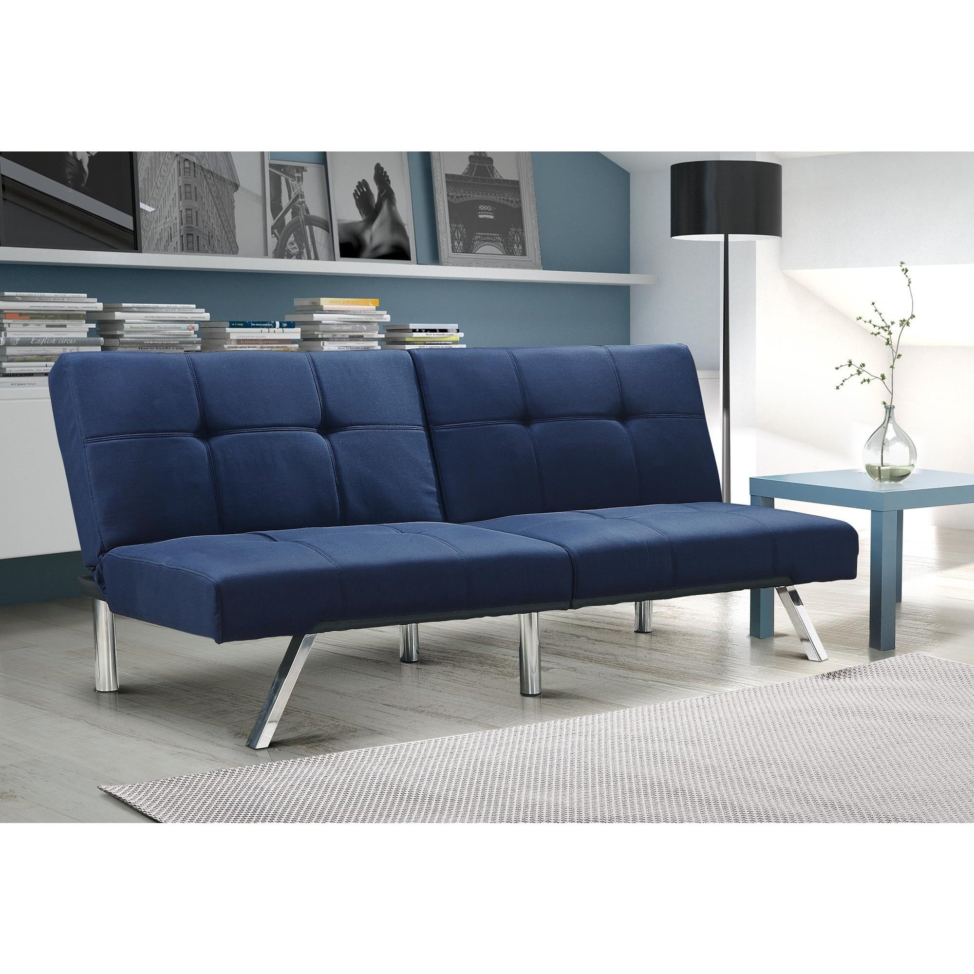 Dhp Layton Navy Linen Futon Free Shipping On Orders Over 45 Com 10317673