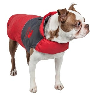 Touchdog Lightening Shield Waterproof 2-in-1 Convertible Dog Jacket with Blackshark Technology