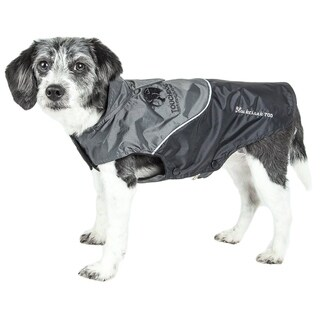 Touchdog Lightening-shield Waterproof Convertible Dog Jacket with Blackshark Technology