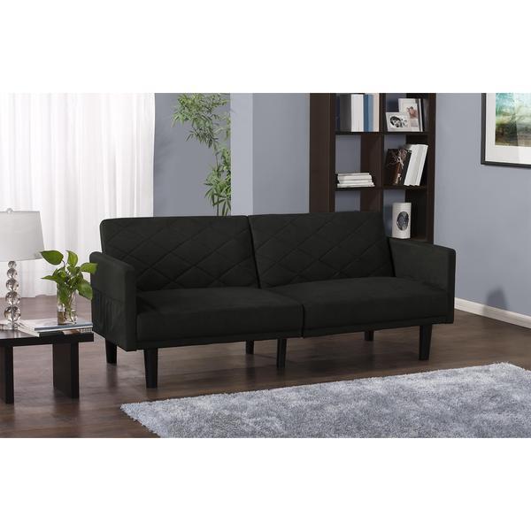 dhp cortland black microfiber futon free shipping today 17429178. Black Bedroom Furniture Sets. Home Design Ideas