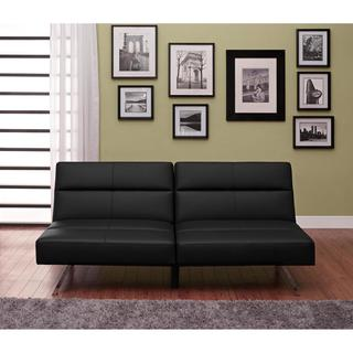 Avenue Greene Scarlett Futon, Black Faux Leather