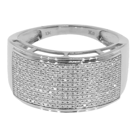 Sterling Silver 3/5ct TDW Pave Diamond Ring