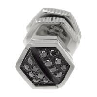 Stainless Steel Black Diamond Accent Single Stud Earring