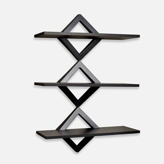 Danya B. Diamonds Three Level Black Shelving System