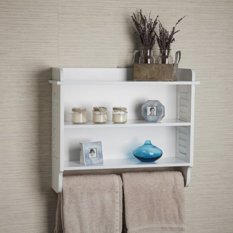 Danya B. White Bath Cabinet with Adjustable Shelf and Towel Bar