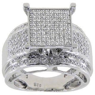 Sterling Silver 1/3ct TDW Diamond Pave Square Setting Ring - White