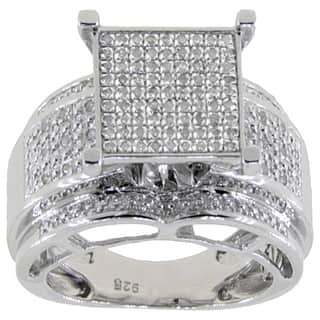 Sterling Silver 1/3ct TDW Diamond Pave Square Setting Ring - White|https://ak1.ostkcdn.com/images/products/10317864/P17429318.jpg?impolicy=medium