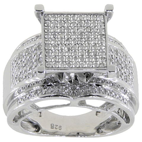 Sterling Silver 1/3ct TDW White Diamond Pave Square Setting Ring