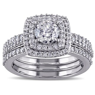 Miadora Signature Collection 10k White Gold 1 1/2ct TDW Diamond Halo Bridal Ring Set (5 options available)
