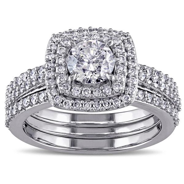 Miadora Signature Collection 10k White Gold 1 1/2ct TDW Diamond Halo Bridal Ring Set