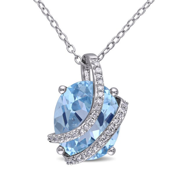 Miadora Silver Blue Topaz and 1/10ct TDW Diamond Necklace G-H, I2-I3)