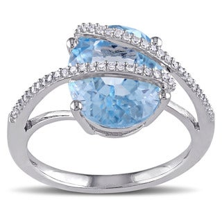 Miadora Silver Blue Topaz and 1/6ct TDW Diamond Ring (G-H, I2-I3)