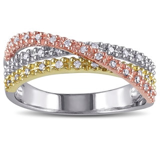 Miadora Tri-color Silver 1/4ct TDW Diamond Cross over Ring