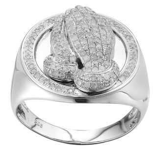 Sterling Silver 3/4ct TDW Diamond Praying Hand Ring (G-H, I2-I3)