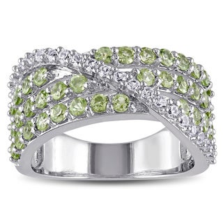 Miadora Sterling Silver Created White Sapphire and Peridot Ring