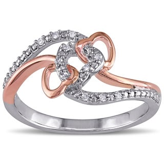 Miadora Two-Tone Silver Diamond Accent Interlocking Heart Ring