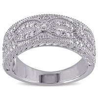 Miadora Sterling Silver 1/10ct TDW Diamond Ring