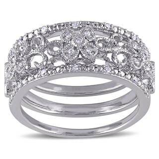 Miadora Sterling Silver 1/10ct TDW Diamond Filigree Vintage Band 3-Piece Set (5 options available)