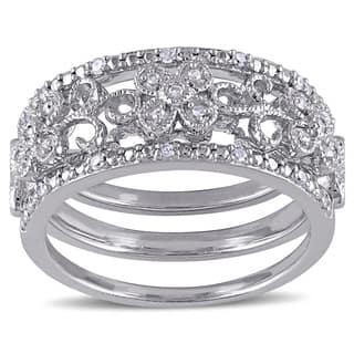 Miadora Sterling Silver 1/10ct TDW Diamond Filigree Vintage Band 3-Piece Set|https://ak1.ostkcdn.com/images/products/10317904/P17429391.jpg?impolicy=medium