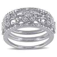 Miadora Sterling Silver 1/10ct TDW Diamond Filigree Vintage Band 3-Piece Set - White G-H