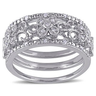 Miadora Sterling Silver 1/10ct TDW Diamond Filigree Vintage Band 3-Piece Set (4 options available)