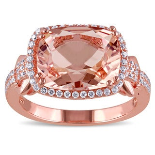 Miadora Rose Plated Silver Imitation Morganite and Cubic Zirconia Cocktail Ring