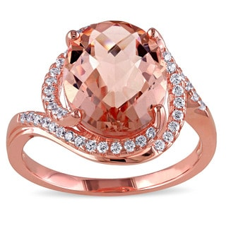 Miadora Rose Plated Silver Imitation Morganite and Cubic Zirconia Ring