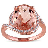 Miadora Sterling Silver Pink Glass and Cubic Zirconia Ring