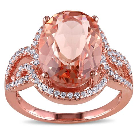 Miadora Rose-plated Sterling Silver Rose Glass and Cubic Zirconia Halo Split Shank Ring - Pink