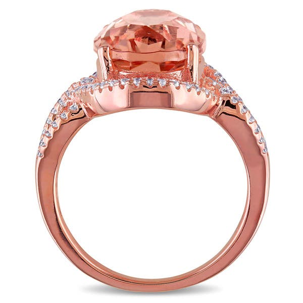 04dc8802094c3 Shop Miadora Rose-plated Sterling Silver Rose Glass and Cubic ...