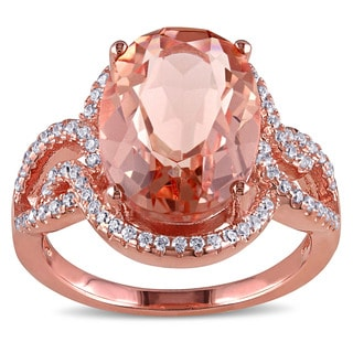 Miadora Rose Plated Sterling Silver Oval-cut Imitation Morganite and Cubic Zirconia Halo Split Shank