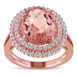 Miadora Rose Plated Silver Imitation Morganite and Cubic Zirconia Double Halo Cocktail Ring