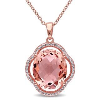 Miadora Rose-plated Silver Imitation Morganite and Cubic Zirconia Halo Necklace - Pink