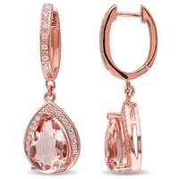 Miadora Rose-plated Sterling Silver Cubic Zirconia and Rose Glass Halo Drop Earrings