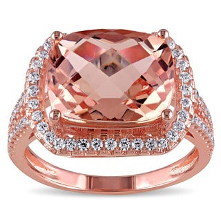 Miadora Rose Plated Sterling Silver Cushion-cut Simulated Morganite and Cubic Zirconia Cocktail Halo Split Shank Ring