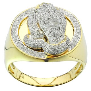 10K Yellow Gold Men's 3/4ct TDW Diamond Praying Hand Ring (G-H, I2-I3)