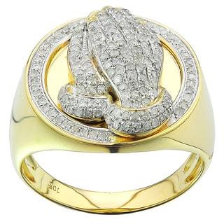 10K Yellow Gold Men's 3/4ct TDW Diamond Praying Hand Ring (G-H, I2-I3)