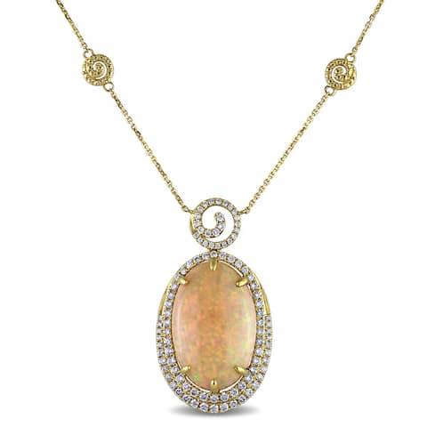 Miadora Signature Collection 14k Yellow Gold Ethiopian Opal and 1 1/4ct TDW Diamond Necklace (G-H, SI1-SI2) - Orange