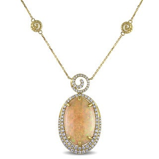 Miadora Signature Collection 14k Yellow Gold Ethiopian Opal and 1 1/4ct TDW Diamond Necklace (G-H, SI1-SI2)